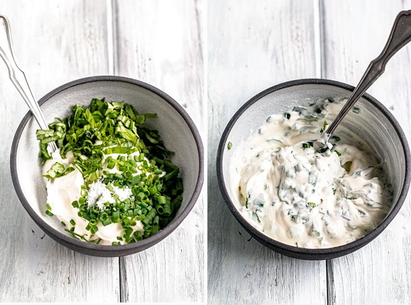 pictures showing all the herbs in the herbed sour cream sauce