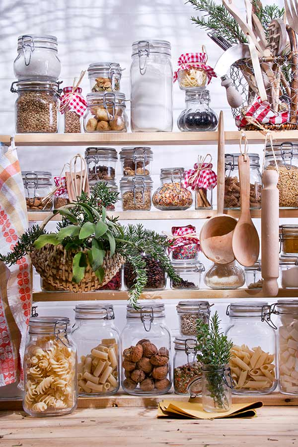 pantry shelves filled with pantry essentials