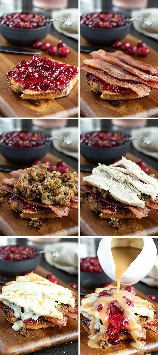 pictures showing how to make an open faced turkey melt