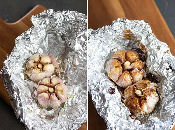 pictures showing how to make the roasted garlic