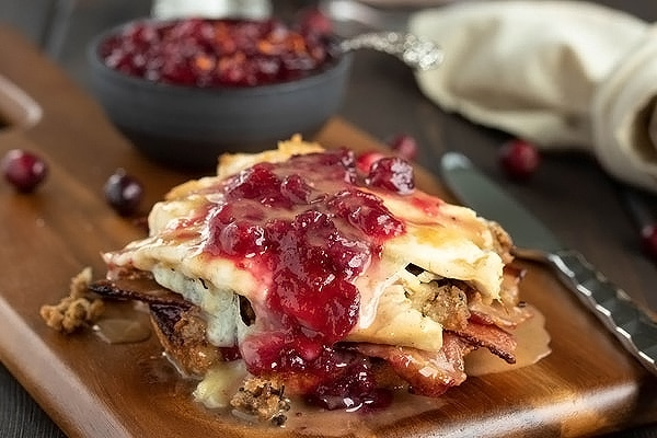 turkey sandwich melt with cranberry sauce and gravy drizzled on top
