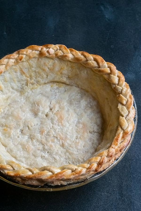 a blind baked pie crust just out of the oven