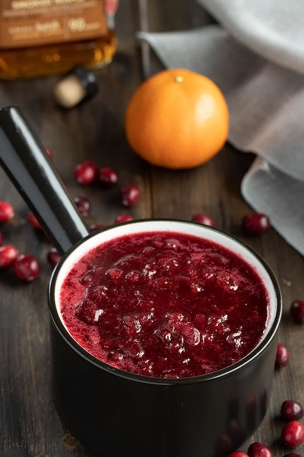 a small pot of homemade cranberry sauce after boiling