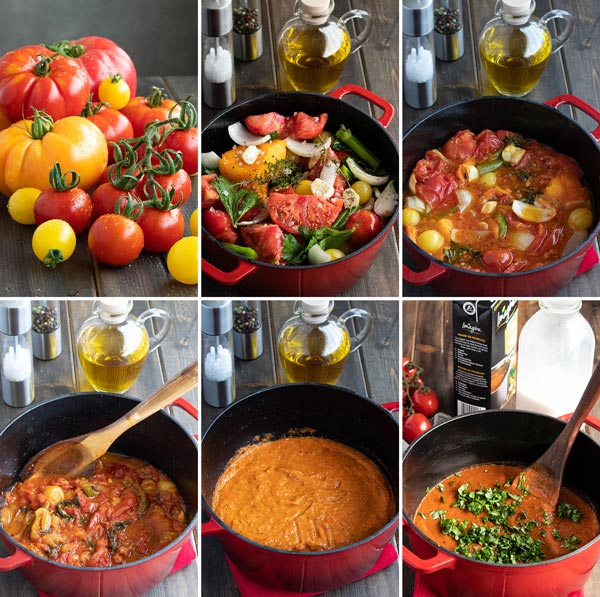 Pictures showing how to make the tomato soup