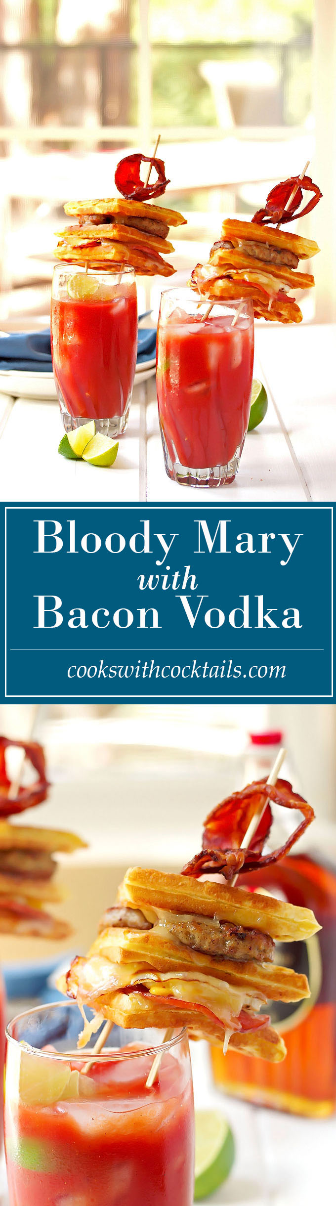 Bacon Infused Bloody Mary with a Waffle Grilled Cheese Topper