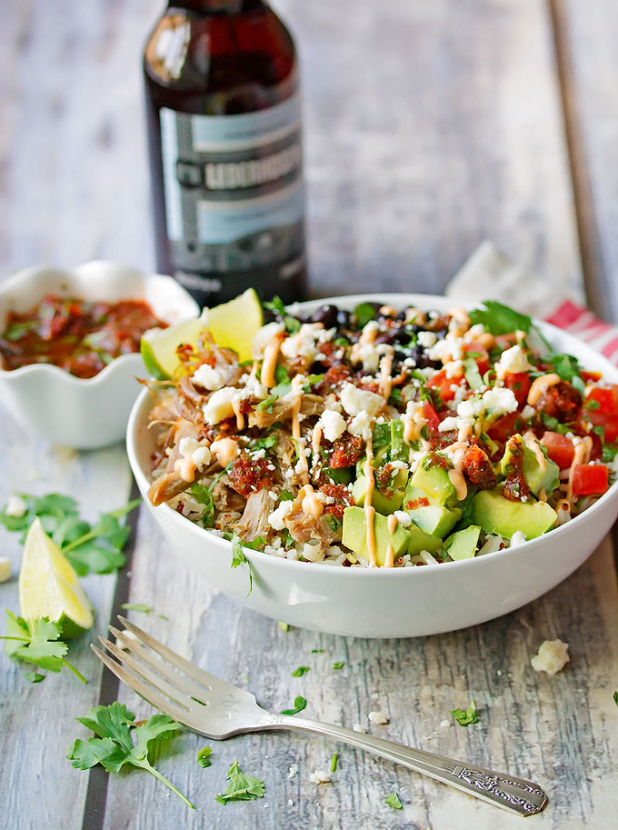 Carnitas Bowls with Rice, Beans, Avocado & a Spicy Fresh Salsa