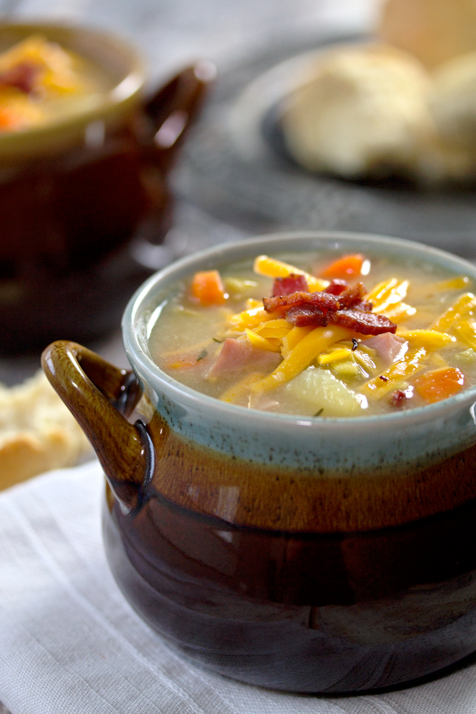 Cauliflower Soup with Chunky Potatoes and Ham