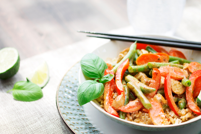One Night in Bangkok Thai Red Curry with Chicken and Veggies