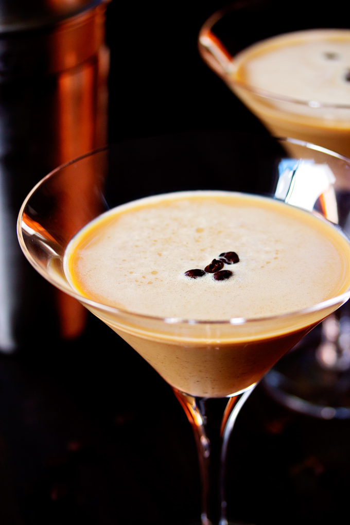 finished Espresso Martini in a glass and ready to drink