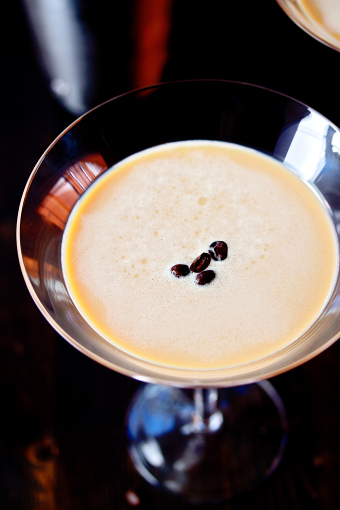 coffee beans floating on top of an Espresso Martini