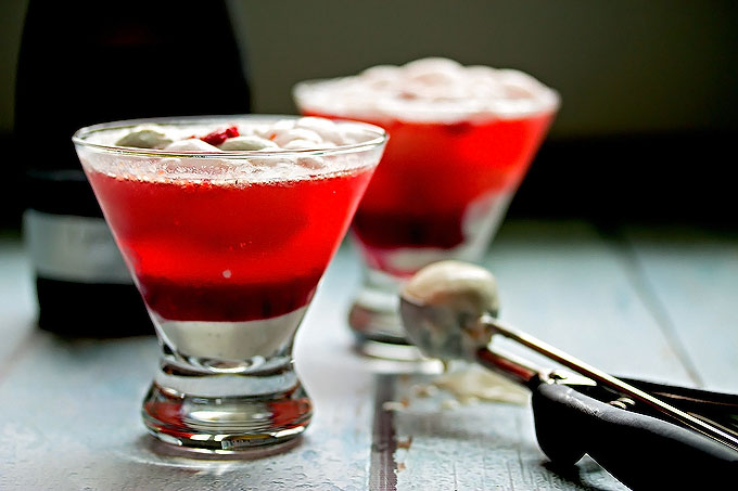 Raspberry Vodka & Champagne Float with Vanilla Bean Coconut Ice Cream