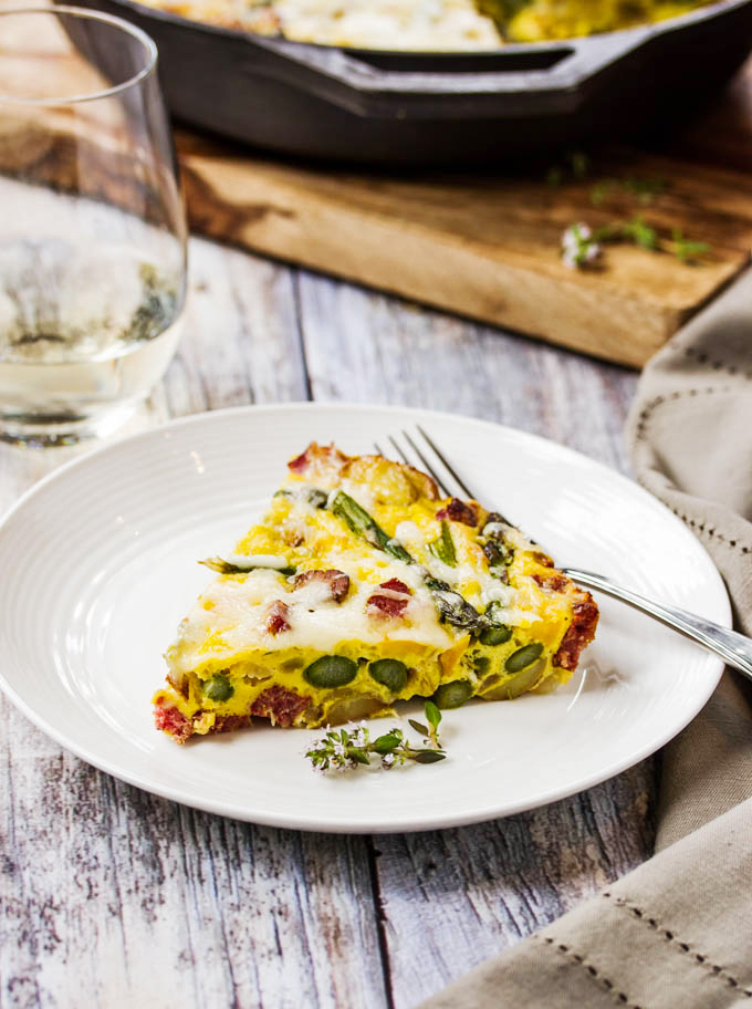 Frittata with Farmer Sausage, Onions, Asparagus & Fontina Cheese