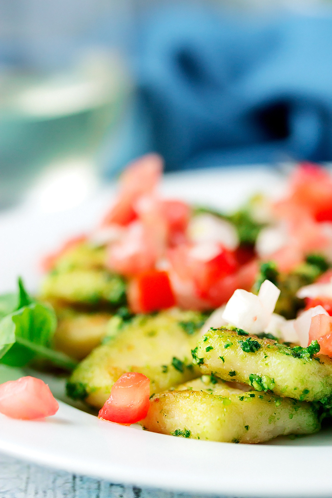 Gluten Free Gnocchi with Kale Pesto and Pico de Gallo