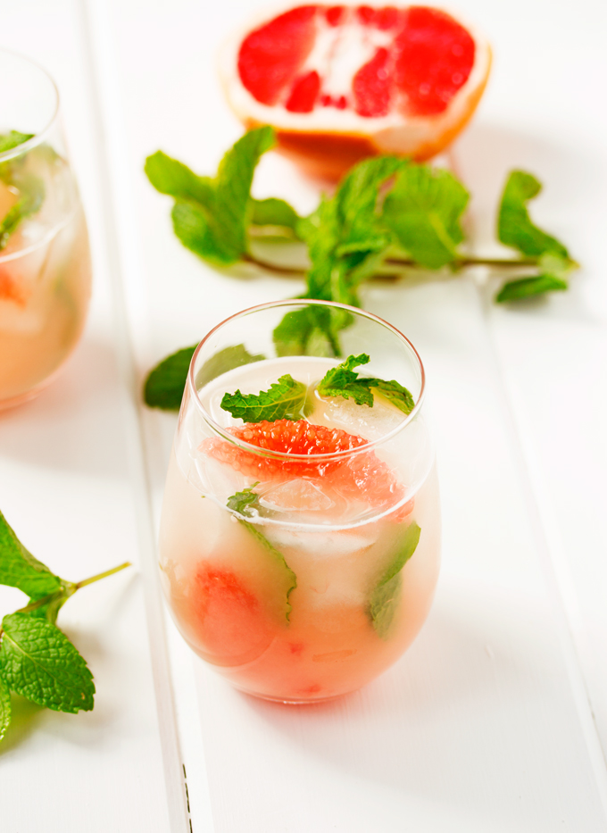 Grapefruit & Vodka Shaken with Egg Whites and Muddled Mint