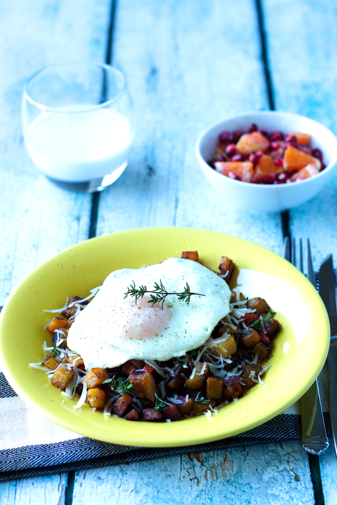 Simple Breakfast Potato And Ham Hash With An Egg