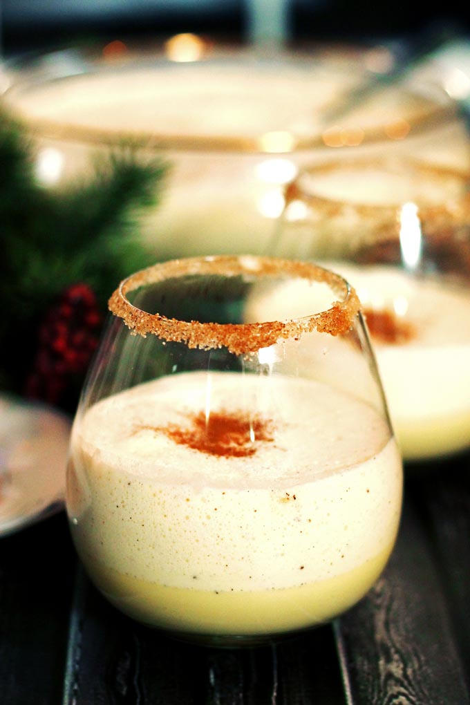 Homemade Eggnog with Rum and Kahlua