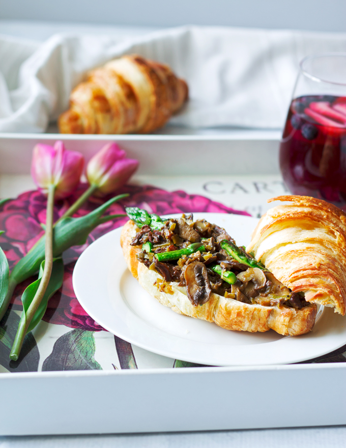 Mushroom and Leek Croissant Topped with an Egg | A Mothers Day Brunch