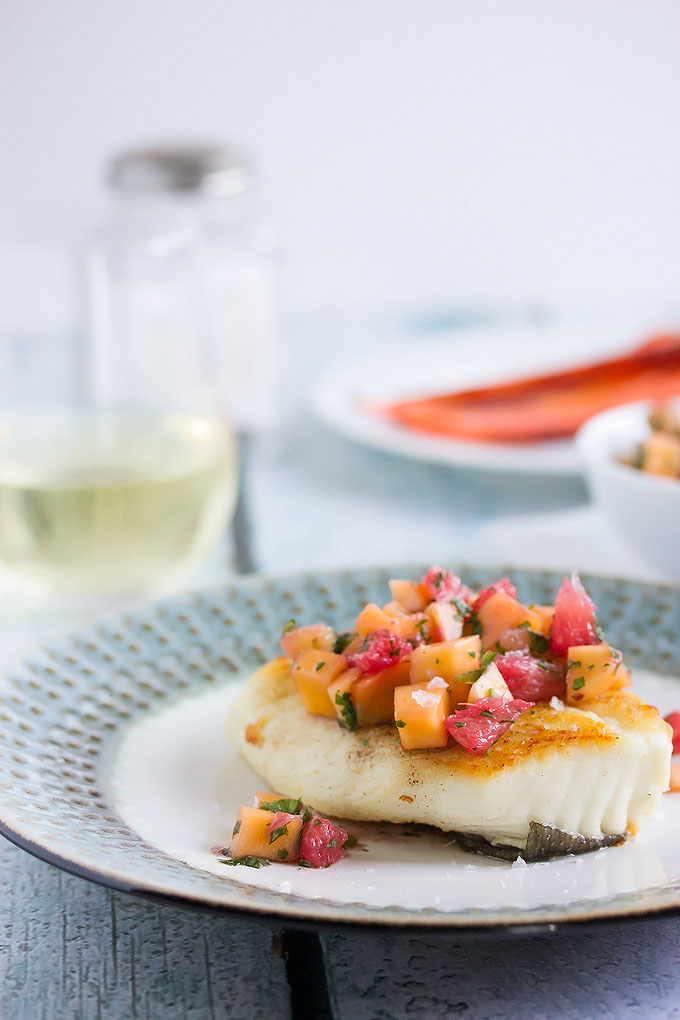 Panfried Halibut with Grapefruit & Mango Salsa