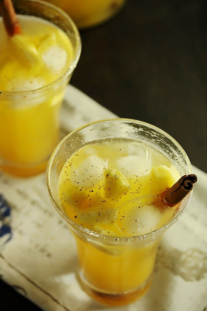 Close up of pineapple sangria