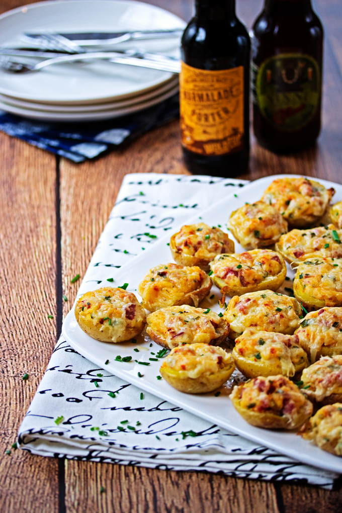 Mini Twice Baked Potatoes with Farmer Sausage, Sundried Tomato and Gruyere