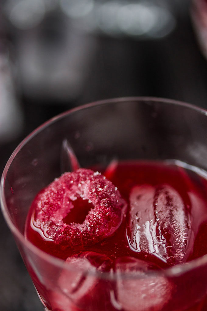 Sugared Raspberry in raspberry liqueur