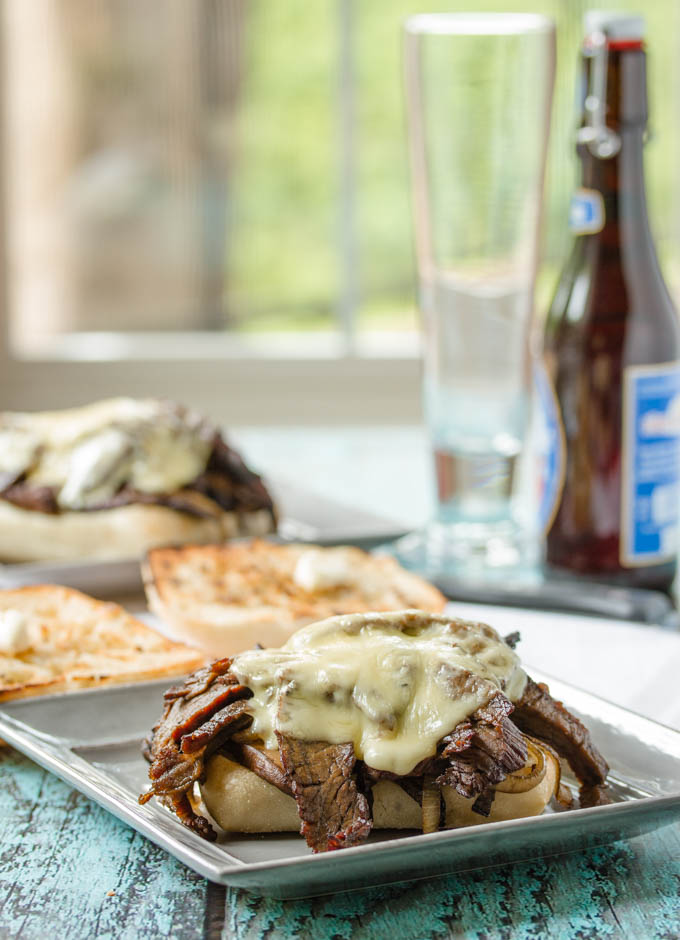 Steak Sandwich with Onions, Mushrooms and Havarti