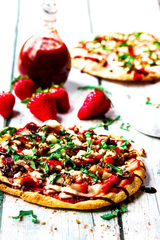 Strawberry Pizza with Fresh Mozzarella, Basil, & Balsamic Reduction