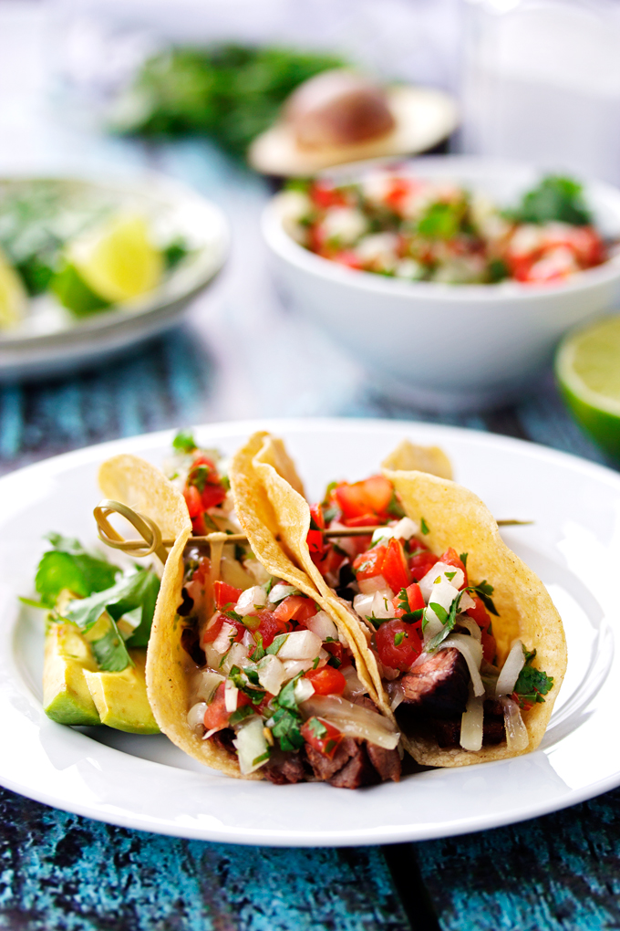 Tequila & Lime Steak Tacos with Fresh Pico De Gallo