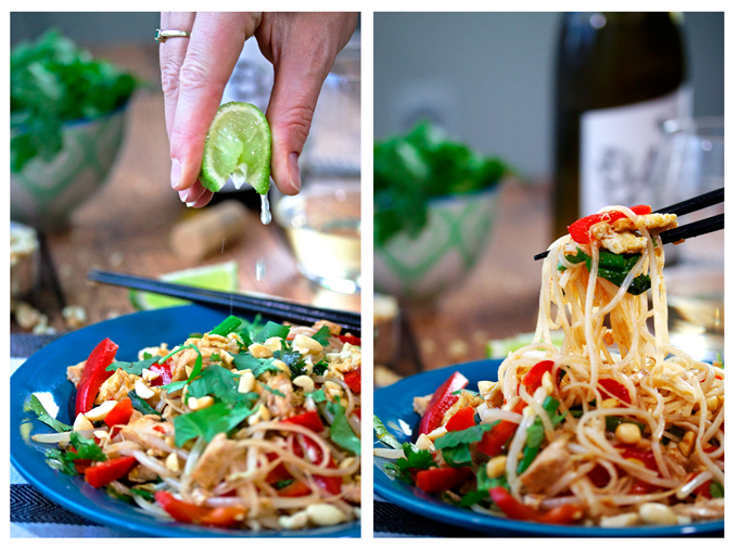 Chicken Pad Thai getting a squirt of lime